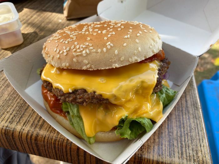 Close-up of burger on table