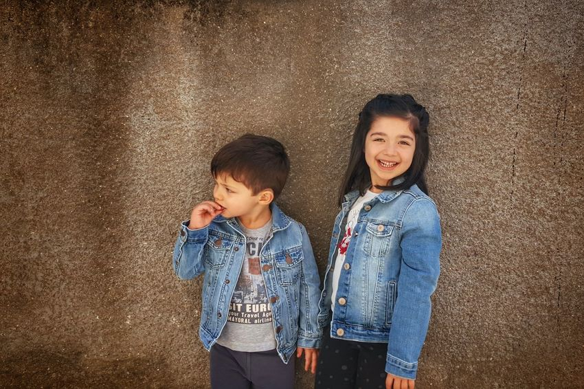 The Portraitist - 2016 EyeEm Awards Children Photography Kidsphotography My Kids My Daughter My Son My Life My Love Family Matters Family Time Family Snapshots Of Life Smile Enjoying Life Lifeisbeautiful Brother & Sister Blue Jeans Jean Jacket Found On The Roll