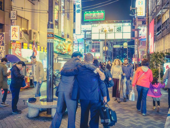 Osaka Dotonbori Fun Japan Japan Photography Nightphotography Salaryman Adult Architecture Building Exterior City City Life Crowd Illuminated Large Group Of People Men Night Outdoors People Real People Salarymen Street Streetphotography Walking Women