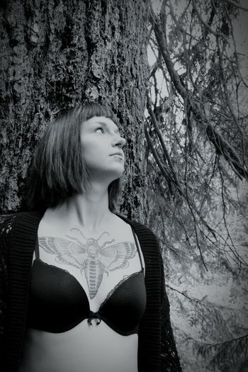 In The Forest In Nature  Inkedgirls Portrait Of A Friend Nikon D5200 Black And White B&w Gothicportrait Gothic Beauty