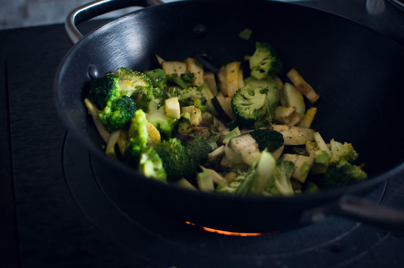Close-up of vegetables in frying pan