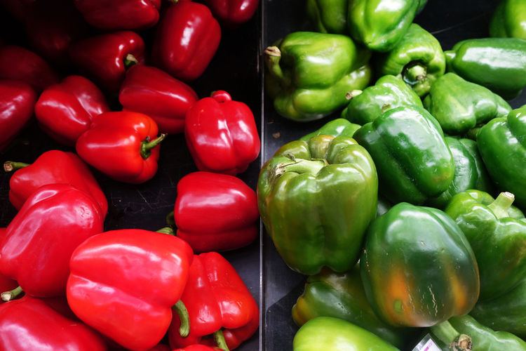 High Angle View Of Bell Peppers For Sale At Store