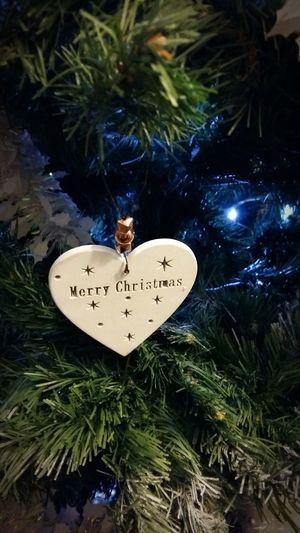 Close-up Christmas Tree Done ! Celebration Text Christmas Decorations Heart Light Christmas Lights
