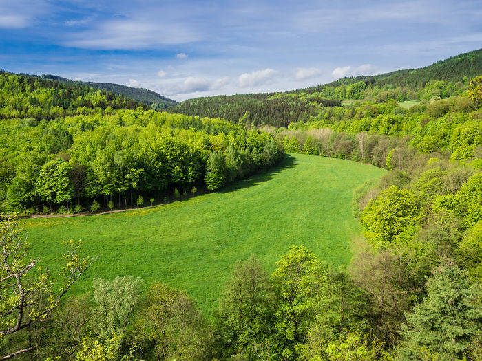 Landscape in Thuringia, Germany. Agriculture Beauty In Nature Cloud - Sky Day Field Forest Green Color Growth Landscape Mountain Mountain Range Nature No People Outdoors Rural Scene Scenics Sky Social Issues Sunlight Tea Crop Thuringia Thüringer Wald Tranquil Scene Tree