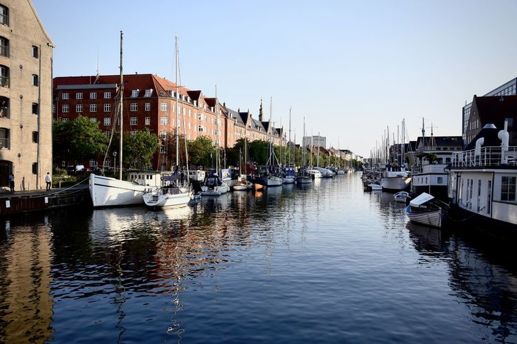 Blue Boat Canal City Life Copenhagen Outdoors Water Waterfront