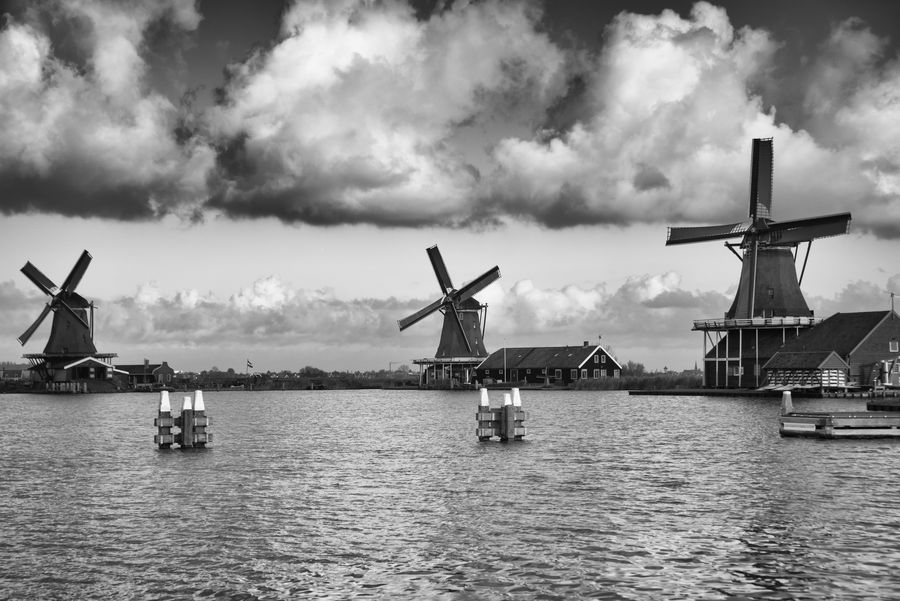 Alternative Energy Amsterdam Canal Buildings Cloud Cloud - Sky Cloudscape Cloudy Day Holland Landscape Nature No People Outdoors Photography River Sea Seascape Sky Traditional Windmill Travel Trip Water Wind Power Wind Turbine