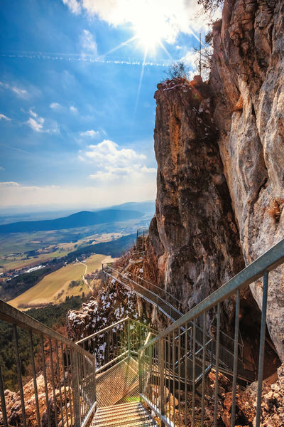 Felsenpfad Hohe Wand Sonnenstrahlen Steg Architecture Beauty In Nature Built Structure Cloud - Sky Day Environment Formation Mountain Nature No People Non-urban Scene Outdoors Railing Rock Rock - Object Rock Formation Scenics - Nature Sky Sunlight Tranquil Scene Tranquility