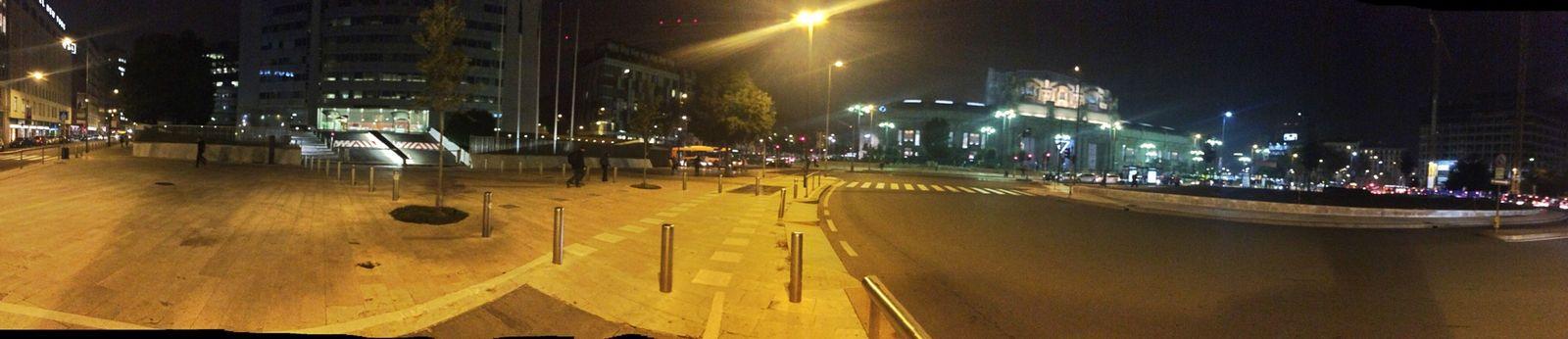 Panorama Night Lights Urban Geometry Traffic