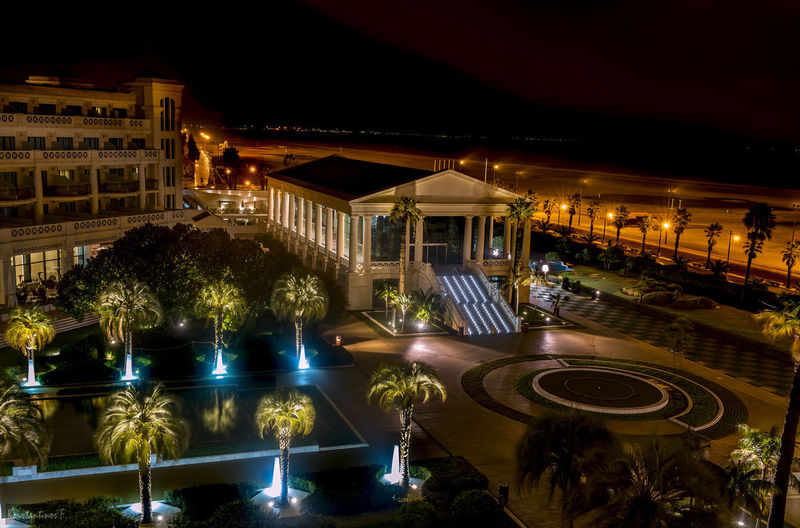 High angle view of swimming pool at night
