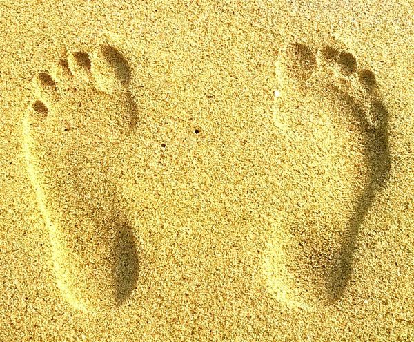 Feet Footprints Sand Print Golden Sand