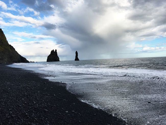 Black beach in Vík Sea Sky Water Beach Cloud - Sky Horizon Over Water Nature Scenics Beauty In Nature Tranquil Scene Wave Shore Outdoors