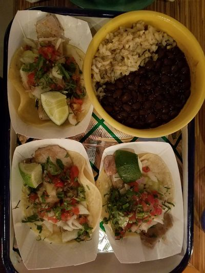 Ahi Tuna Tacos with Black Beans and Rice Ahi Tuna Mexican Food Tacos Black Beans Rice Temptation Healthy Eating Homemade Cooked Gourmet Meal Serving Dish Plate