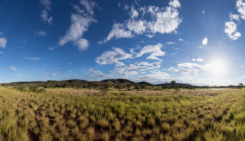 Western MacDonnell Ranges, Australia Backlight Blue Sky Cloud - Sky Clouds And Sky Grass Growth Landscape Mountain Range Rural Landscape Sky And Clouds Sun Sunlight Tranquil Scene Tranquility