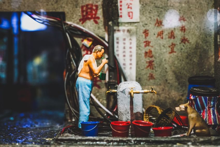 HK street minature Real People Full Length One Person Working Occupation Outdoors Day Men Water People From My Point Of View Cityscape Lost In The Landscape Capture The Moment Fine Art Photography KITTE HongKong Minature Japan