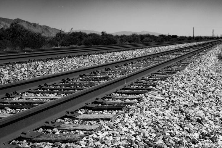 Vanishing point. Eyemphotography Train Tracks Vanishing Point Tucson Az Photography Thephotographer Blackandwhite Photography Train Yard Tresspassing Going The Distance