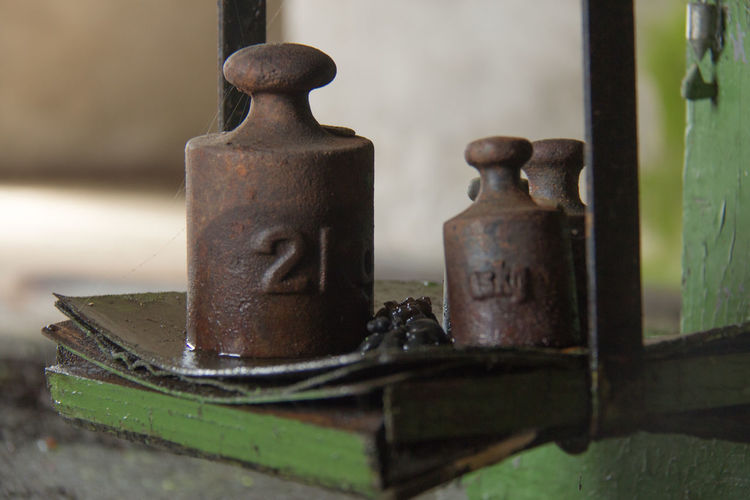 Close-up of weights
