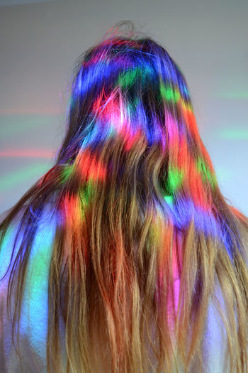 Coloured Hair Disco Lights Human Hair Illuminated Long Hair Multi Colored New Fashion Red Green Blue Young Woman