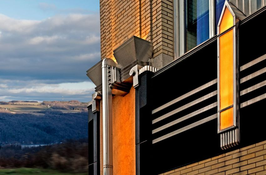 Outdoors Architecture Building Exterior Day City Sky Modern Stainless Steel  Window No People Built Structure Art Deco Abtract Syracuse Ny Rural Glowing