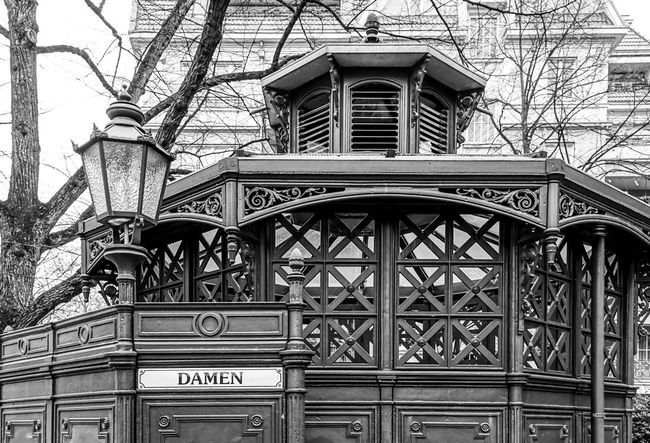 Berlin Photography Ladies Restroom Street Light Street Lamp Toilet Toilets Woman Architecture Black And White Building Exterior Built Structure Communication Day Historic Historical Lavatory Low Angle View No People Outdoors Pissoir Public Rest Room Toilette Wc Rethink Things