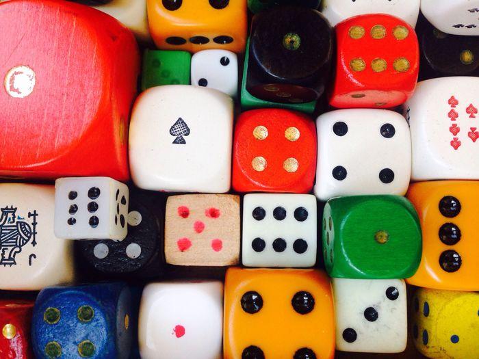 Full frame shot of various dices