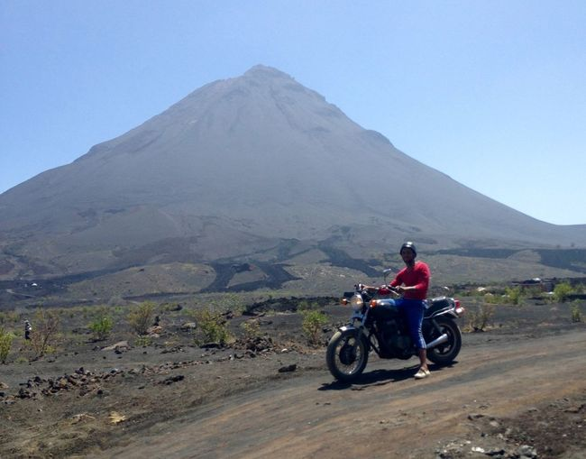 Journey Nature Mountain Motorcycle Adventure Riding Men Hello World Taking Photos Origine Cabo Verde Experience Fogo