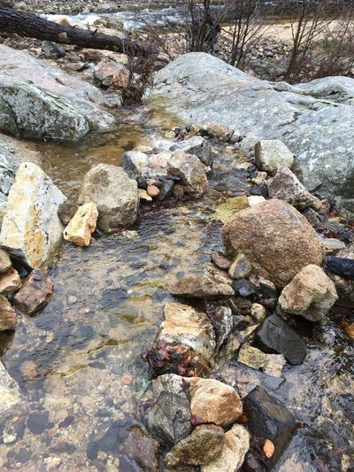 High angle view of rocks in stream