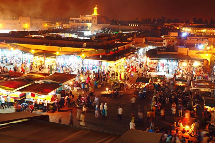 Jamaaelfna Laplace Morocco Marrakech Marrakesh Marrakech Morocco Evening Lights Markets Cafelafrance