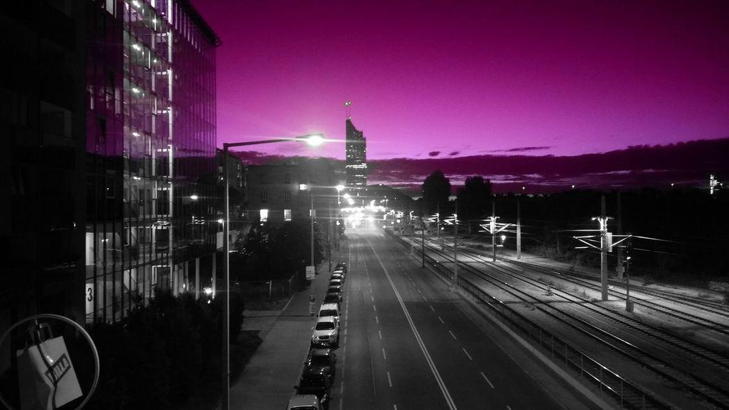 VIENNACALLING Nightphotography Builing Street Lights Rosa Skyporn