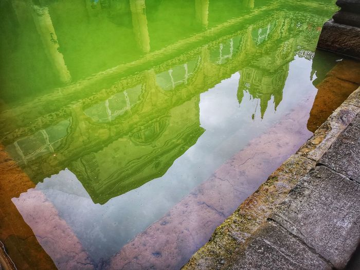 Indulge in Roman Baths UNESCO World Heritage Site Bath, England Double Exposure Roman Bath Bath Hot Spring Water Reflection Standing Water Sky Hot Spring