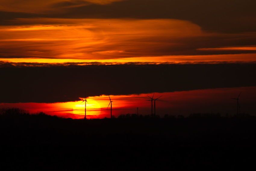 Sunset Orange Color Red Silhouette Electricity  Scenics Beauty In Nature Nature Tranquility No People Yellow Outdoors Sky Dramatic Sky Landscape Illuminated Heat - Temperature Electricity Pylon Natural Phenomenon Day Silhouette Autumn Colors Thuringia Beauty In Nature Autumn