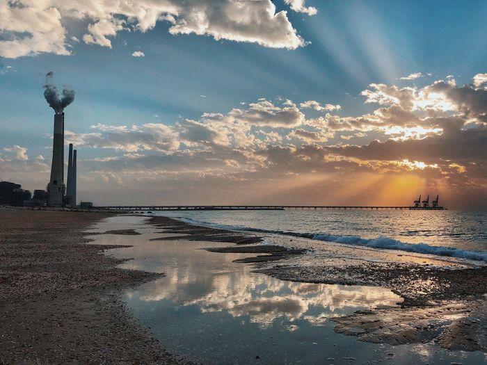 מייים מייאייפון10 ShotOnIphone IPhoneX Sky Water Cloud - Sky Sea Sunset Reflection Beauty In Nature Nature Beach Scenics Sun