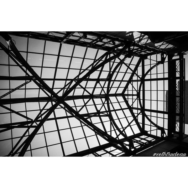 This is the Black and White version of this photo. You can find the color version in my profile. Which do you prefer? Indoors  Low Angle View Architecture Ceiling Sky Day Architectural Feature Skylight Geometric Shape No People Complexity Full Frame Sethtrudeau Photography Architecture Architecture_collection Architecture Photography Symmetrical Symmetry Symmetric Inside Indoors  Glass Roof Sky