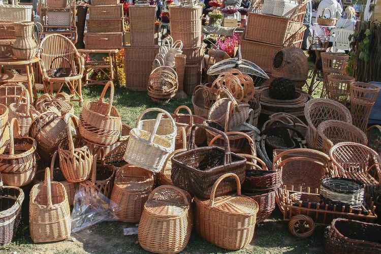 High angle view of wicker baskets for sale at market stall