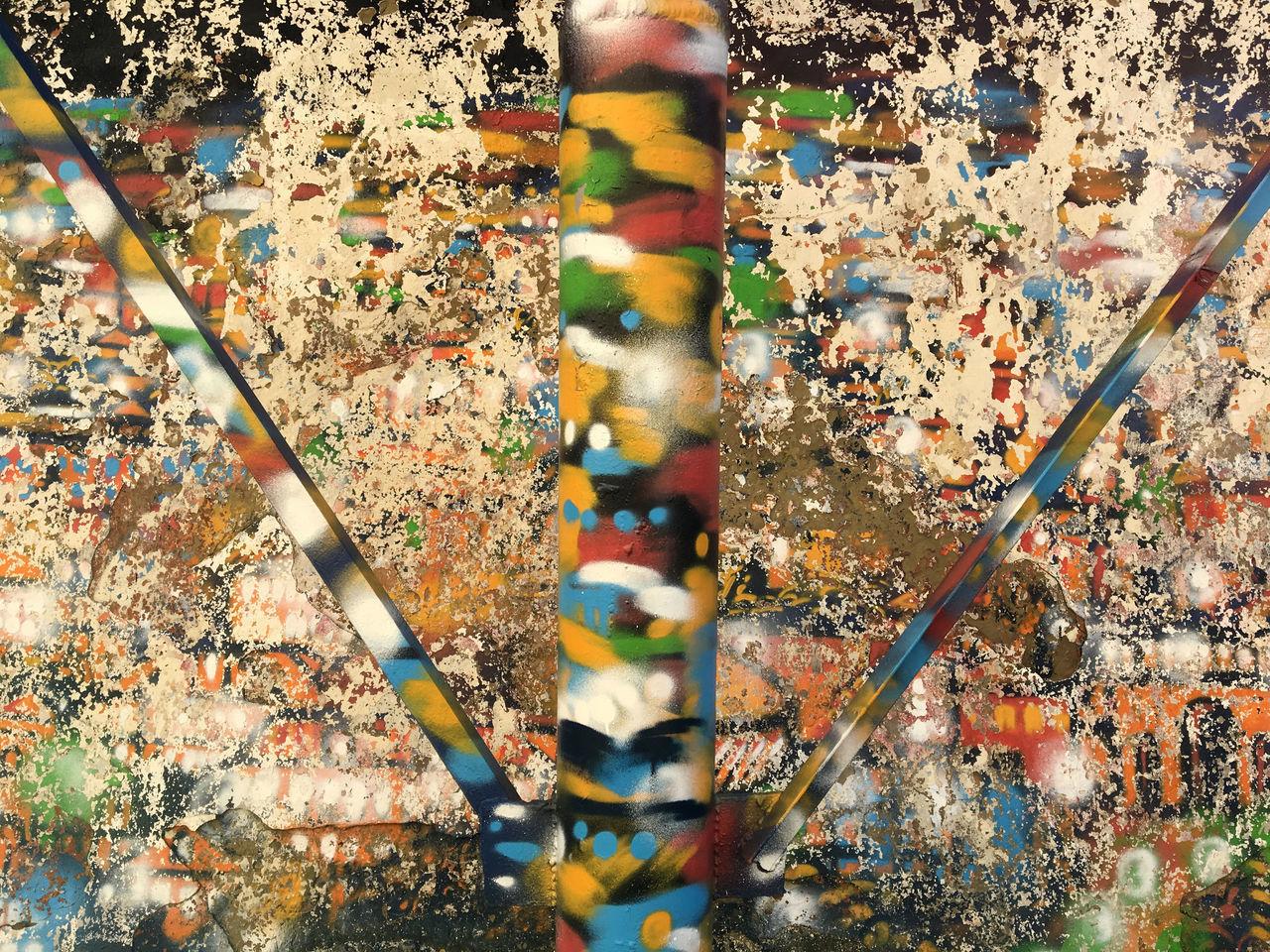 HIGH ANGLE VIEW OF GRAFFITI WALL