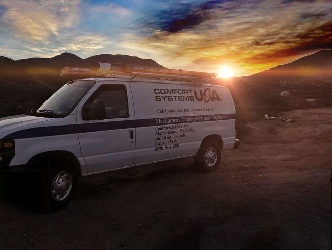 Sunset Sky Sun Transportation Cloud - Sky Sunlight Nature Mountain Outdoors No People Scenics Day]. Work Van Plumber Alwayssolo
