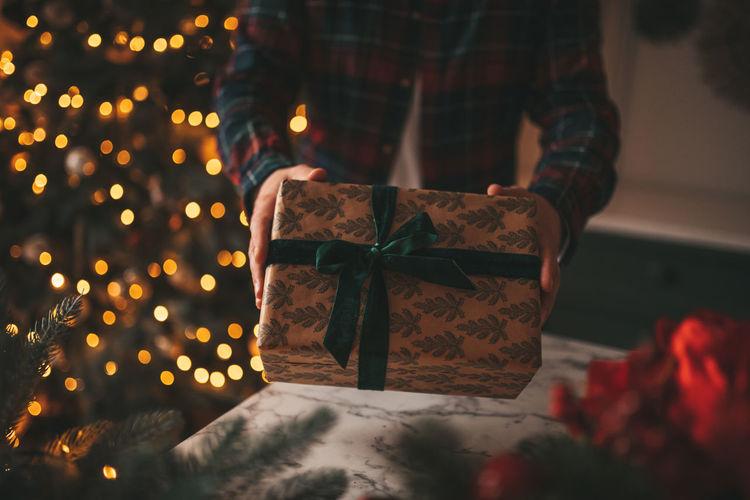 Illuminated christmas tree in box