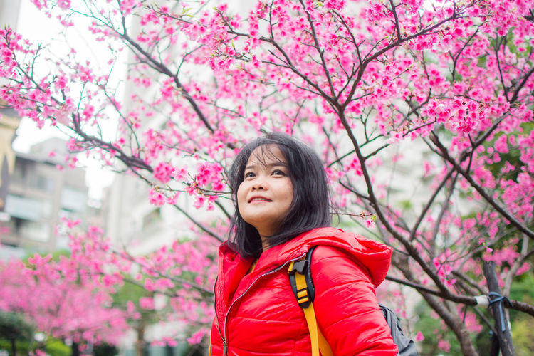 Smiling woman against pink cherry blossoms