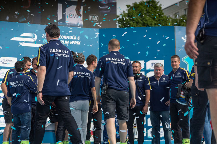Renault team on the podium during E-Prix FIA Formula E race car championship Award Ceremony. Sébastien Buemi, Swiss professional racing driver, scored his third win Award Ceremony Formula E Formula E 2016 Podium Racing Sebastien Buemi Winners Eprix Formula E 2016 Formula E Racing Formulae Group Of People Large Group Of People Motor Sport Race Renault Winner