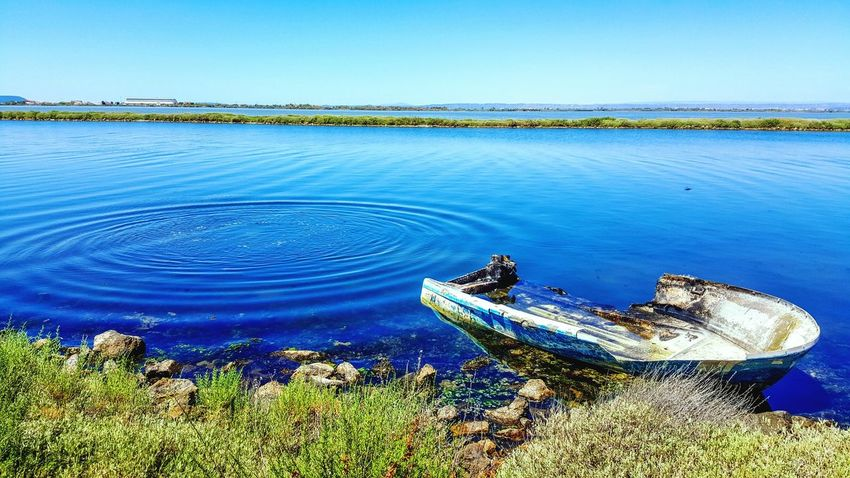 EyeEmNewHere Blue Nature Water Clear Sky Beauty In Nature Tranquility Sky Bateau Barque Abandoned Abandonné Sud France Barlatier Lac Chateauneuf Les Martigues France 🇫🇷