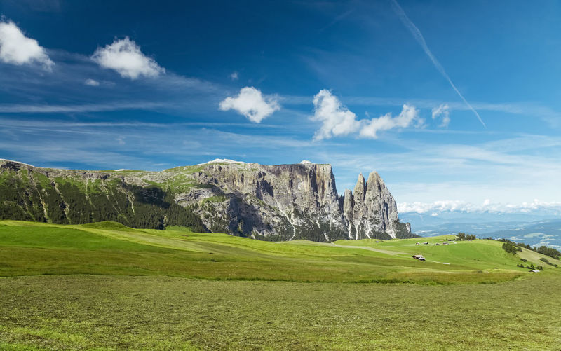 Seiser Alm meadow and plateau panorama Grass Sky Green Color Cloud - Sky Cloudscape Beauty In Nature Tranquility Environment Scenics - Nature Landscape No People Outdoors Idyllic Field Tranquil Scene Day Land Nature Long Shot Panorama Nature Photography Meadow Alpine Plateau Italy