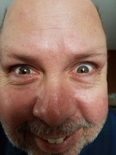 My husband being silly. Yes I have permission. Looking At Camera Human Body Part One Man Only One Person Close-up Human Eye Human Face Adult Indoors  Beard Smiling Eyebrow Headshot