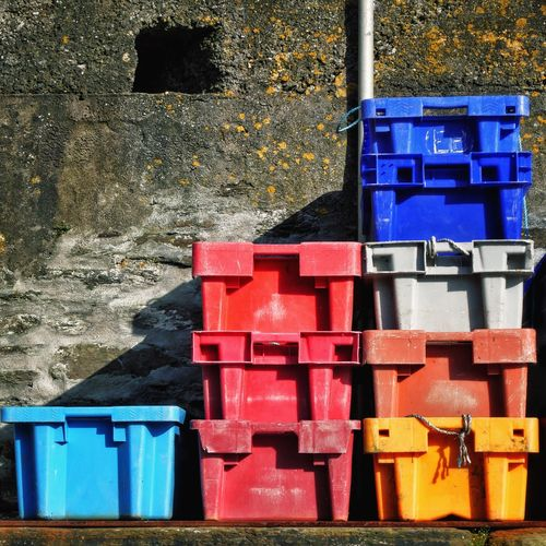 Colourful Fish Boxes in the Harbour of Mevagissey Cornwall England United Kingdom Pattern Pattern, Texture, Shape And Form Patterns Colours Colors Colorful Plastic Wall Global Photographer Works Exhibition Global Photographers Alliance Rectangle Showcase June Fine Art Photography Colour Of Life