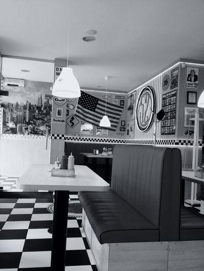 America Bydgoszcz Poland Diner City52 American Flag Restaurant Bar Amaturephotography Blackandwhite