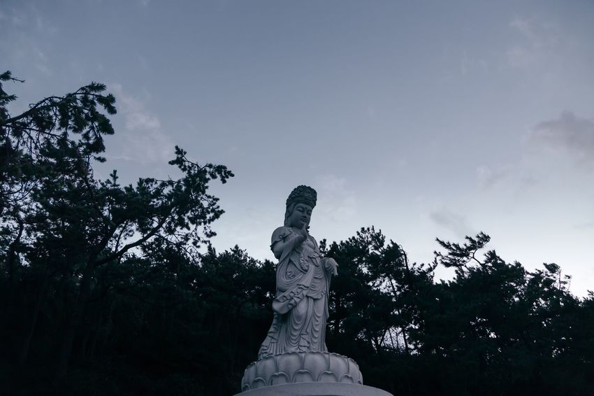 Human Representation Statue Art And Craft Sculpture Low Angle View Outdoors Nature Evening Evening Sky Culture ASIA Korea Serenity Quiet Moments