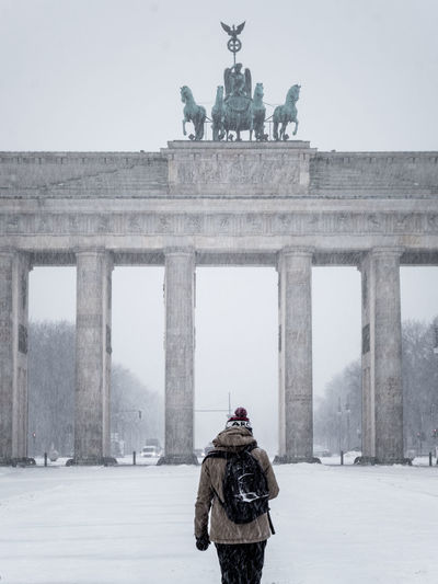 On a snowy day, at brandenburger tor