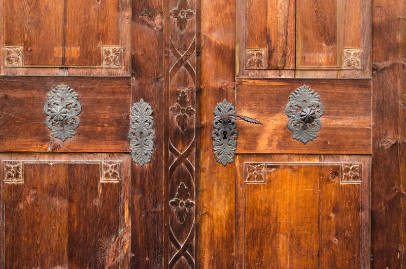 Close up of the detail of an old door Backgrounds Castle Close-up Closed Detail Door Doorway Full Frame Intricate No People Old Solid Wood Wood - Material Wooden
