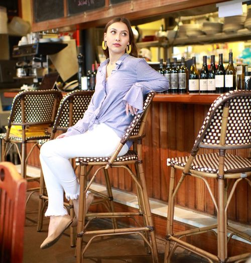 Seat Chair Indoors  One Person Adult Young Adult Women Sitting Bar - Drink Establishment Bar Counter Portrait Young Women Casual Clothing Beautiful Woman Food And Drink Beautiful People Beauty Relaxation
