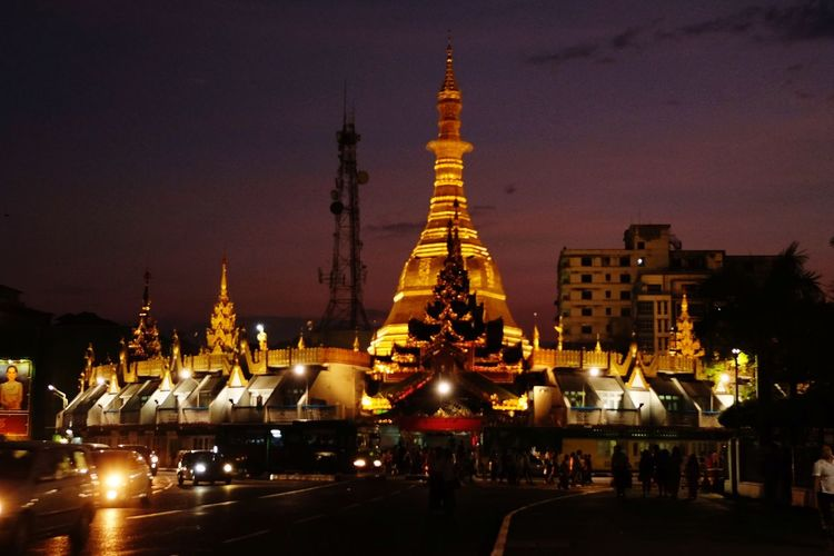 yangon at night City Cityscape Urban Skyline Illuminated Place Of Worship Ceremony Statue Arts Culture And Entertainment Religion Pagoda Myanmar Myanmar Culture Buddhism Temple - Building Buddhist Temple Icon Stupa Buddha
