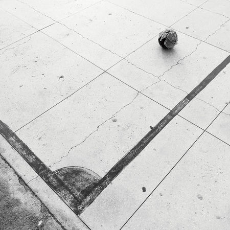 High Angle View No People Flooring Ball Architecture City Geometric Shape Absence Day Futsal Court Blackandwhite
