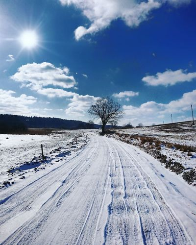 Winter road Winter Road Poland Warmia Polska Sun Snow Cold Temperature Outdoors Winter Day Nature The Way Forward Cloud - Sky Sky No People Scenics Rural Scene Beauty In Nature Landscape